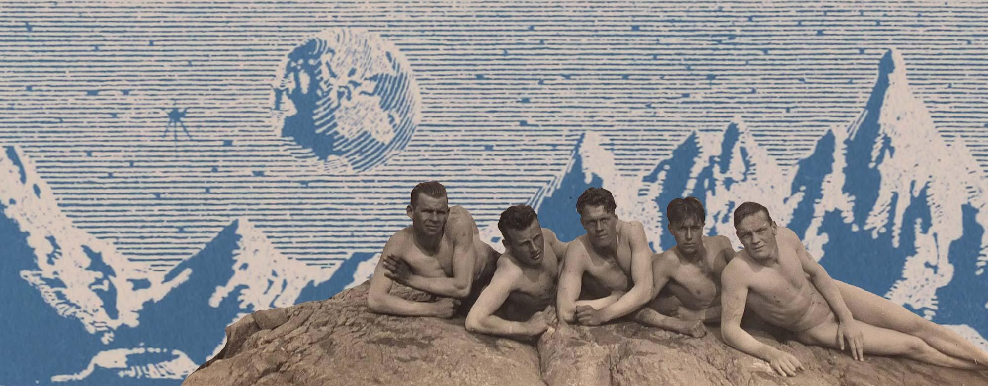 Fyra badpojkar på en stenhåll