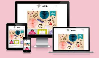 Smyckes företaget Mintsweden's webbplats visad på olika typer av skärmar