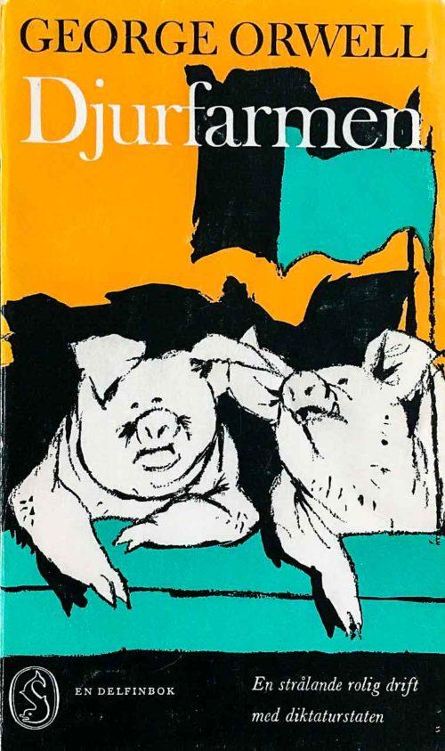 Två grisar som hänger och slänger med fanor vajande i bakgrunden.
