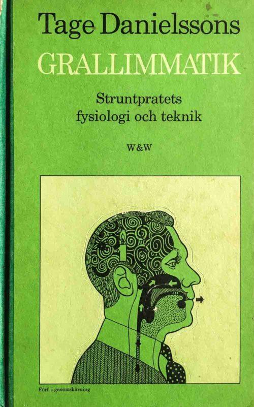 Illustration avTage Danielsson huvud från sidan som visar hur snacket går.