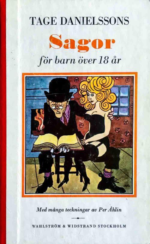 Illustration över en man med plommonstop som har en bok och en tjej i knät