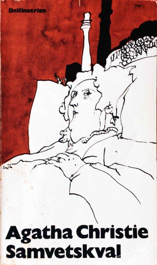 Fundersam kvinna som ligger i en säng illstration av Per Åhlin