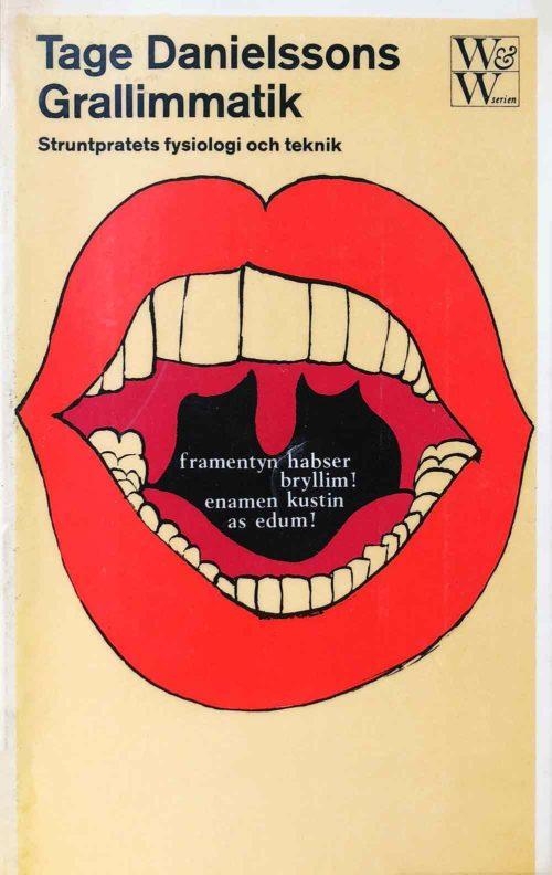 En öppen mun med röda läppar och vita tänder.