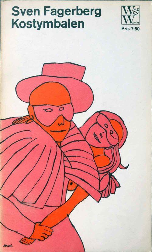 Illustraion på utklädd man och kvinna i rosa på vit bakgrund